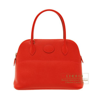 Hermes Bolide bag 27 Rouge casaque Epsom leather Silver hardware