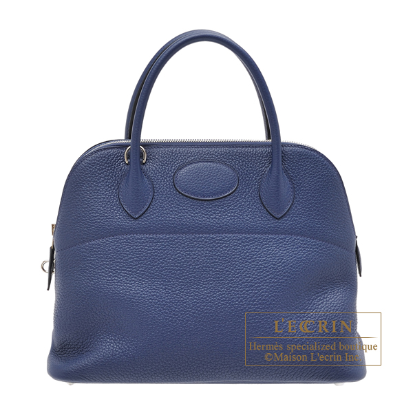 Hermes Bolide bag 31 Blue saphir Clemence leather Silver hardware