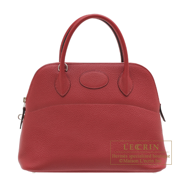 Hermes Bolide bag 31 Rouge grenat Clemence leather Silver hardware
