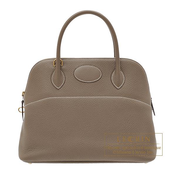 Hermes Bolide bag 31 Etoupe grey Clemence leather Gold hardware