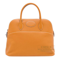 Hermes Bolide bag 35 Toffee Clemence leather Silver hardware