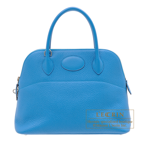 Hermes Bolide bag 31 Blue zanzibar Clemence leather Silver hardware