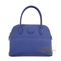 Hermes Bolide bag 27 Blue brighton Epsom leather Gold hardware