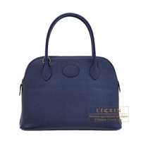 Hermes Bolide bag 27 Blue encre Epsom leather Silver hardware