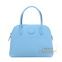 Hermes Bolide bag 27 Celeste Epsom leather Silver hardware