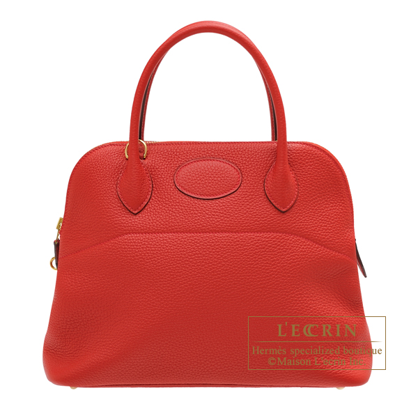 Hermes Bolide bag 31 Rouge casaque Clemence leather Gold hardware