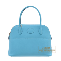 Hermes Bolide bag 27 Blue du nord Epsom leather Silver hardware
