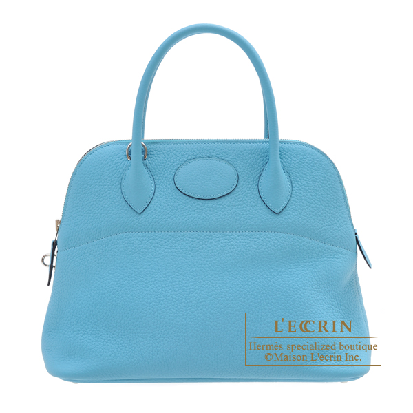 Hermes Bolide bag 31 Blue du nord Clemence leather Silver hardware