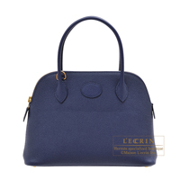 Hermes Bolide bag 27 Blue encre Epsom leather Gold hardware