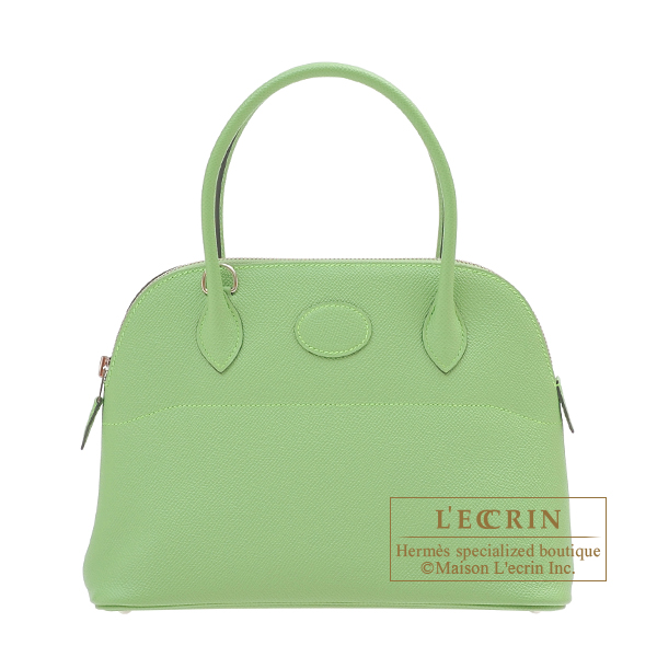 Hermes Bolide bag 27 Vert criquet Epsom leather Silver hardware