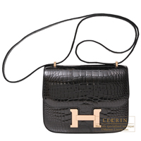 Hermes Constance mini Black Alligator crocodile skin Rose gold hardware