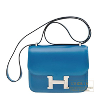 Hermes Constance mini Blue izmir Tadelakt leather Silver hardware