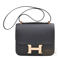 Hermes Constance 24 Black Epsom leather Rose gold hardware