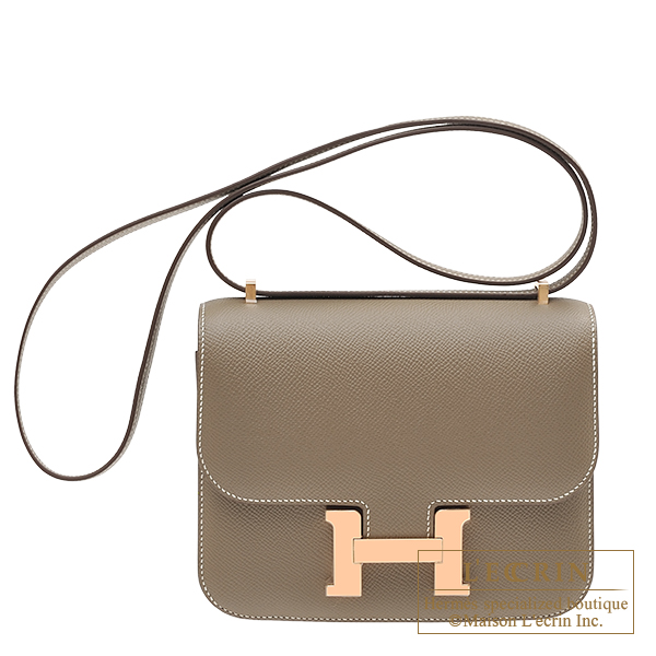 Hermes Constance mini Etoupe grey Epsom leather Rose gold hardware
