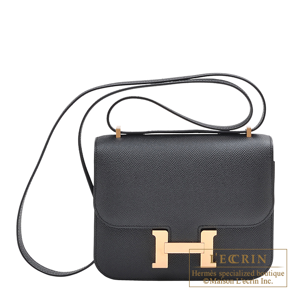 Hermes Constance mini Black Epsom leather Rose gold hardware