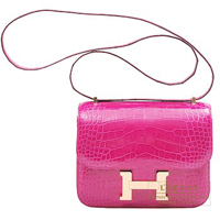 Hermes Constance mini Rose scheherazade Alligator crocodile skin Rose gold hardware