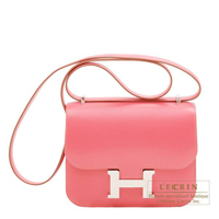 Hermes Constance mini Rose lipstick Tadelakt leather Silver hardware