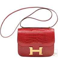 Hermes Constance mini Braise Alligator crocodile skin Gold hardware