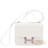 Hermes Constance Optique mini White Evercolor leather Silver hardware