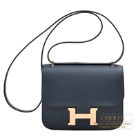 Hermes Constance mini Blue indigo Epsom leather Rose gold hardware
