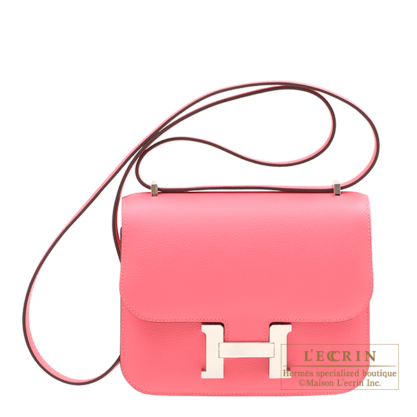 Hermes Constance mini Rose azalee Evercolor leather Silver hardware