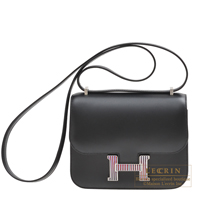 Hermes Constance Optique mini Black Tadelakt leather Silver hardware