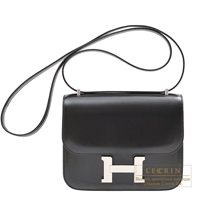 Hermes Constance mini Black Box calf leather Silver hardware