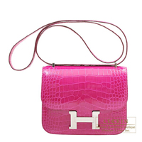 Hermes Constance mini Rose scheherazade Alligator crocodile skin Silver hardware