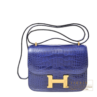Hermes Constance mini Blue electric Alligator crocodile skin Gold hardware