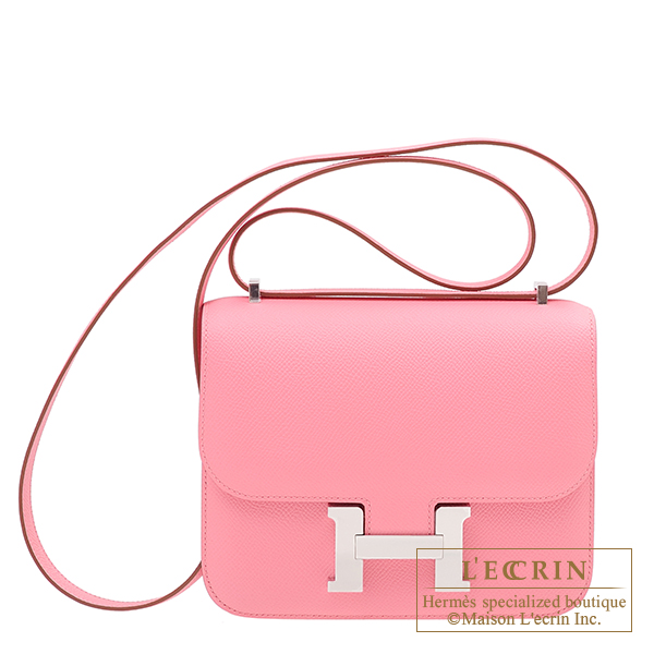 Hermes Constance mini Rose confetti Epsom leather Silver hardware