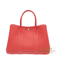 Hermes Garden Party bag TPM Rouge casaque Country leather Silver hardware