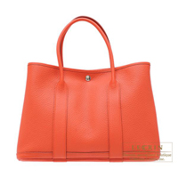 Hermes Garden Party bag PM Capucine Negonda leather Silver hardware