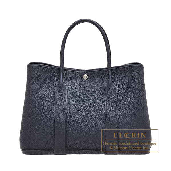 Hermes Garden Party bag PM Blue indigo Negonda leather Silver hardware
