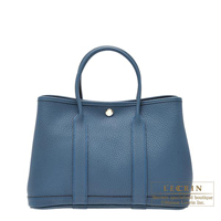 Hermes Garden Party bag TPM Blue tempete Country leather Silver hardware