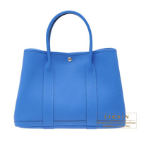Hermes Garden Party bag PM Blue hydra Fjord leather Silver hardware