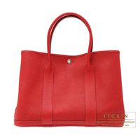 Hermes Garden Party bag PM Rouge piment Negonda leather Silver hardware