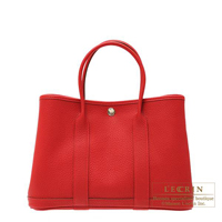 Hermes Garden Party bag TPM Rouge piment Negonda leather Silver hardware