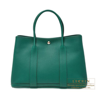 Hermes Garden Party bag PM Malachite Negonda leather Silver hardware