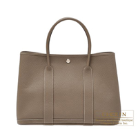Hermes Garden Party bag PM Quadrige Etoupe grey Country leather Silver hardware