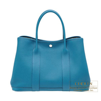 Hermes Garden Party bag PM Cobalt Negonda leather Silver hardware