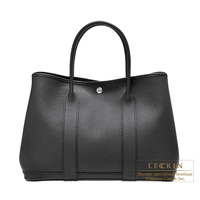 Hermes Garden Party bag PM Black Country leather Silver hardware