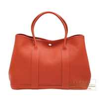 Hermes Garden Party bag PM Sanguine Negonda leather Silver hardware