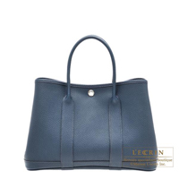 Hermes Garden Party bag TPM Blue de presse Negonda leather Silver hardware