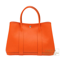 Hermes Garden Party bag PM Feu Country leather Silver hardware