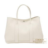 Hermes Garden Party bag PM Craie Country leather Silver hardware