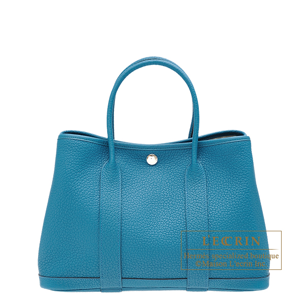 Hermes Garden Party bag TPM Cobalt Negonda leather Silver hardware