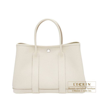 Hermes Garden Party bag TPM Craie Country leather Silver hardware