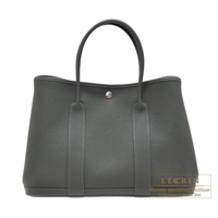 Hermes Garden Party bag PM Vert fonce Negonda leather Silver hardware