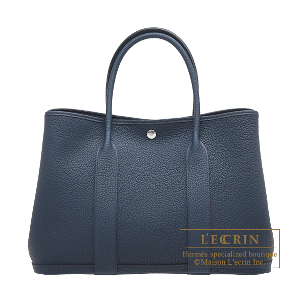 Hermes Garden Party bag PM Blue de presse Negonda leather Silver hardware