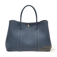 Hermes Garden Party bag PM Quadrige Blue de presse Negonda leather Silver hardware